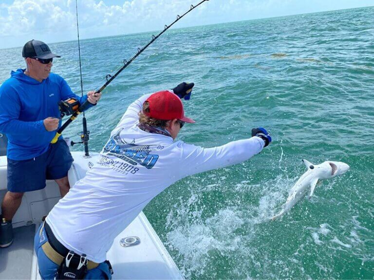 Florida Keys Fishing Charters catching shark with Wicked Fishing Charters